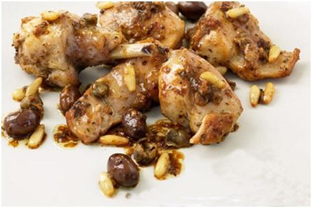 Pollo con pinoli e olive