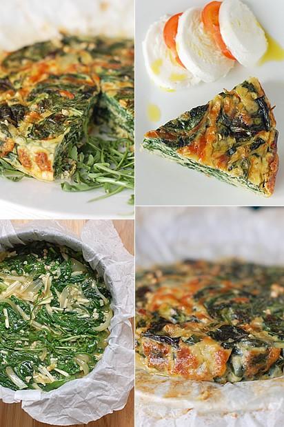Torta salata di rucola e spinaci
